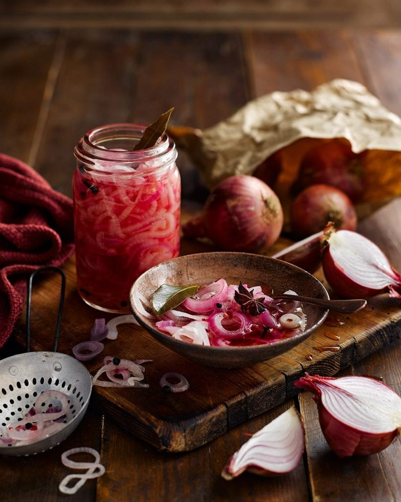 Pink Pickled Onions with ingredients for Tesco Magazine