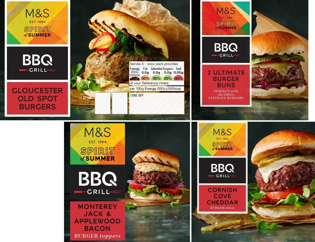 Burger and cheese packaging shots for Marks and Spencer's Spirit of Summer range