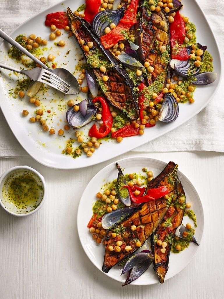 Aubergine Chickpea & Red Pepper Traybake Waitrose magazine everyday June 2020