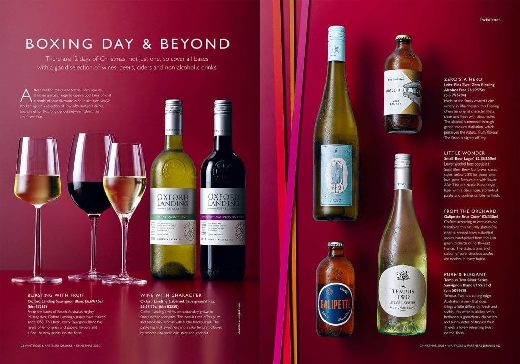 waitrose christmas 2020 drinks brochure wines and beers
