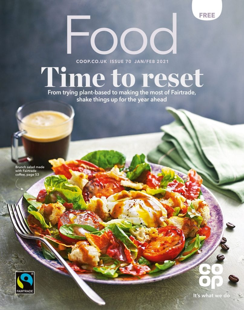 co op food magazine january february 2021 cover brunch salad made with fair-trade coffee