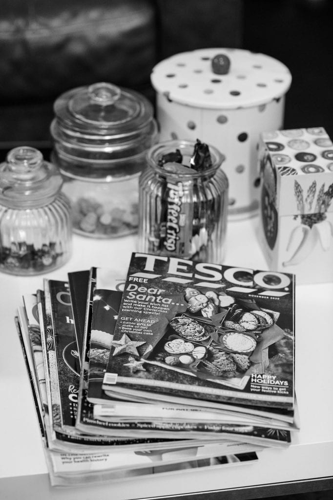 Food magazines and biscuit sweet jars at Gareth Morgans Food photography studio